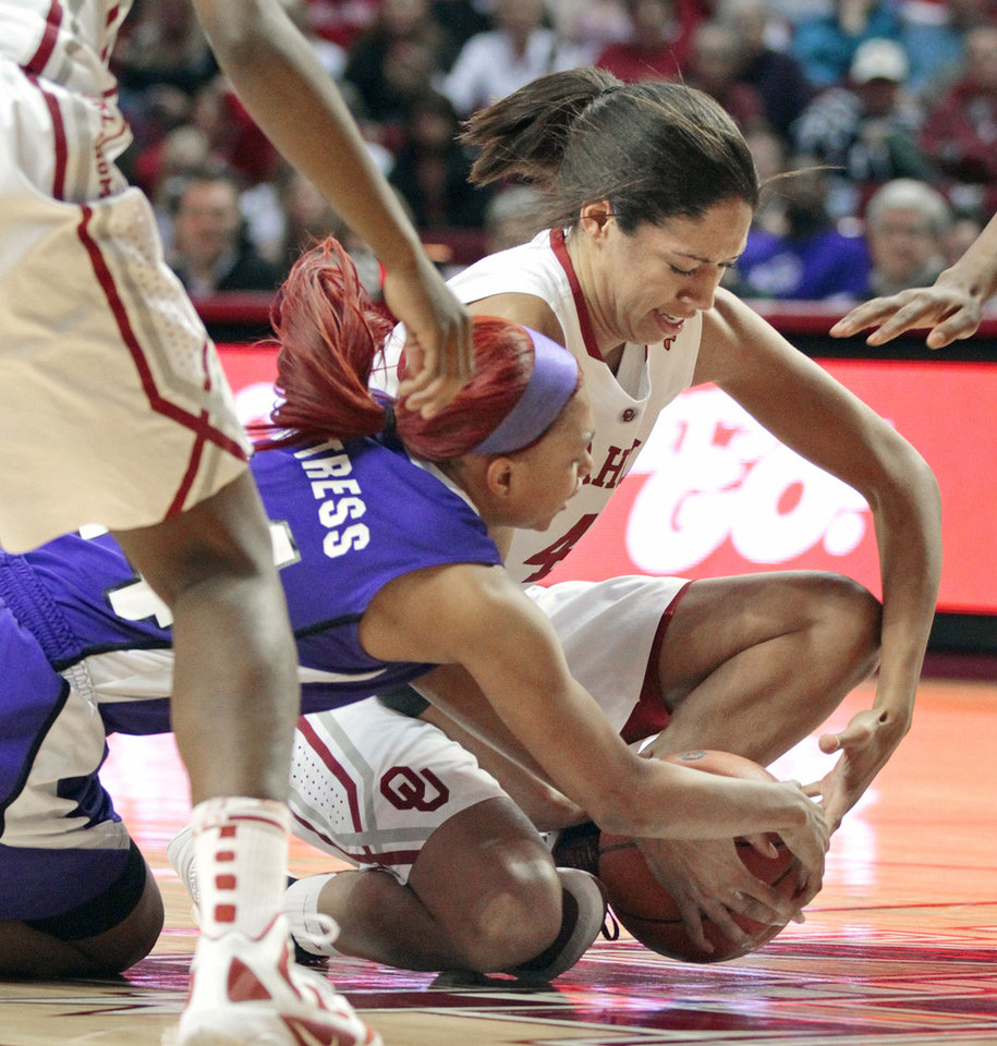 Oklahoma Sooners' Nicole Griffin (top) and TCU Horned Frogs' Natalie Ventress (24) fight for the ball in the second half as the University of Oklahoma (OU) Sooners defeated the Texas Christian University (TCU) Horned Frogs 82-54 in women's college basketball at the Lloyd Noble Center on Wednesday, Dec. 28, 2011, in Norman, Okla.  