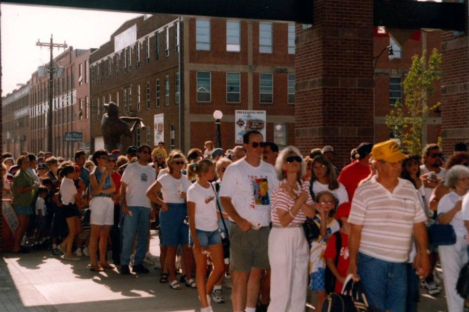 Photo - Crowds waiting in line during the 1998 season. Photo OKC Dodgers.
