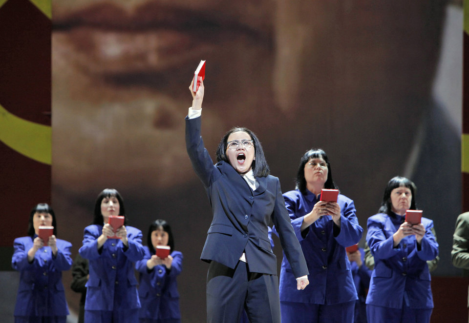 "Photo -   In this June 5, 2012 handout photo provided by the San Francisco Opera, Hye Jung Lee, as Madame Mao, sings ""I am the Wife of Mao Tse-tung"" during a scene from the final dress rehearsal of"