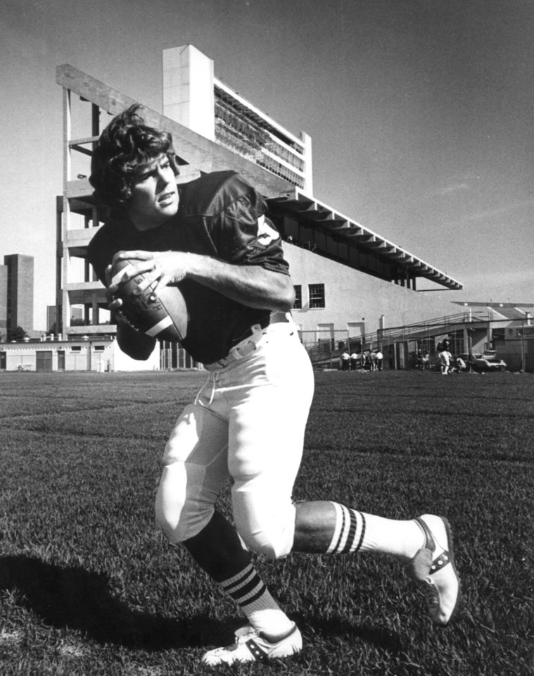 Photo - Former OU quarterback Steve Davis poses for pictures prior to the 1975 season. PHOTO BY JIM ARGO, The Oklahoman Archives