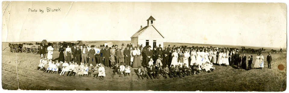 Photo - This early 20th century panoramic photograph was taken by Edward Blunck, founder of Blunck's Photography. The business is celebrating its 100th  anniversary this year. This photo was taken at a church near Calumet and Sunny Hill Cemetery in 1911.	ORG XMIT: 0711092219497574