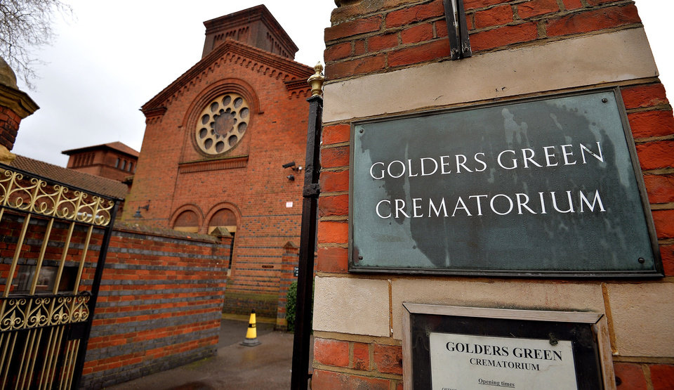 Photo - The entrance to Golders Green Crematorium is seen in London, Wednesday, Jan. 15, 2014. Police are hunting burglars who tried to steal the ashes of psychoanalyst Sigmund Freud from the crematorium. The Metropolitan Police force says a 2,300-year-old Greek urn containing the remains of Freud and his wife Martha was severely damaged in a break-in at Golders Green Crematorium on Dec. 31 or Jan. 1. (AP Photo/PA, John Stillwell) UNITED KINGDOM OUT