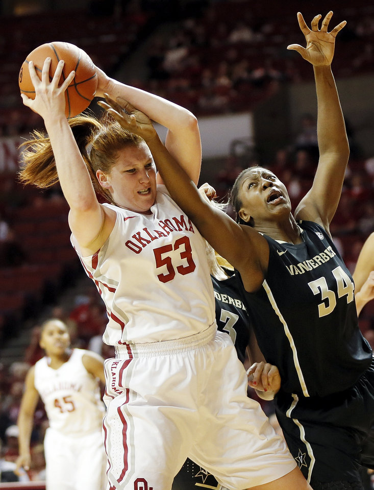 OU's Joanna McFarland (53) grabs a rebound against Vanderbilt's Tiffany Clarke (34) in the second half during a women's college basketball game between the University of Oklahoma Sooners and the Vanderbilt Commodores at Lloyd Noble Center in Norman, Okla., Sunday, Dec. 16, 2012. Vanderbilt won, 76-63. Photo by Nate Billings, The Oklahoman