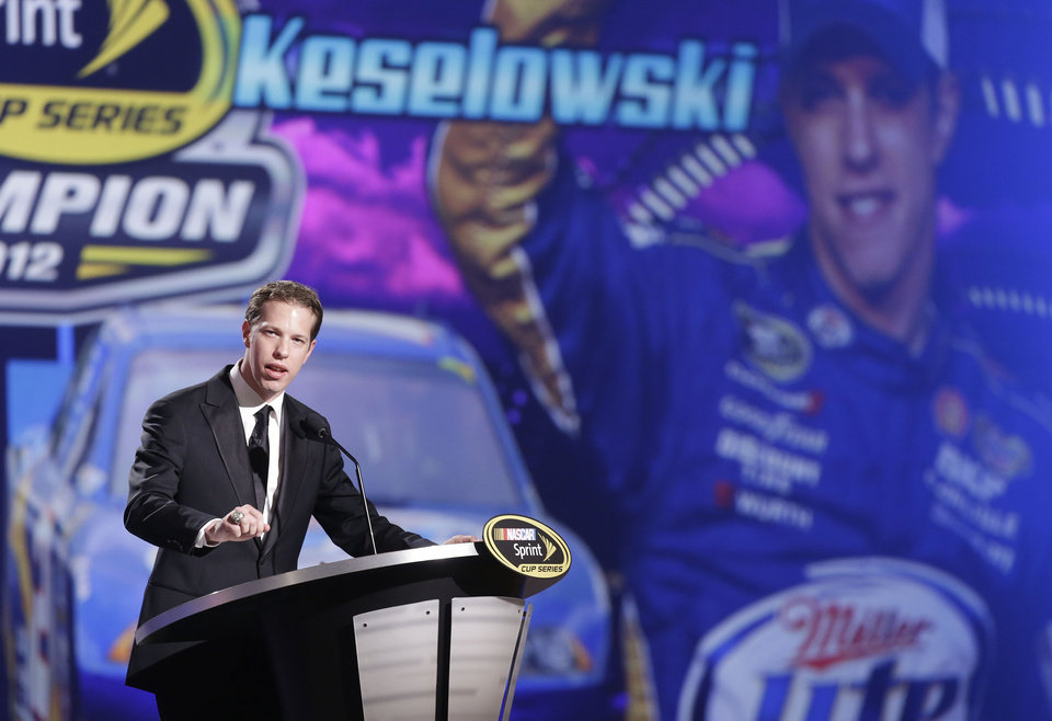 Brad Keselowski speaks during the season-ending NASCAR awards ceremony while accepting the award for winning the NASCAR Sprint Cup Series Championship, Friday, Nov. 30, 2012 in Las Vegas. (AP Photo/Julie Jacobson)