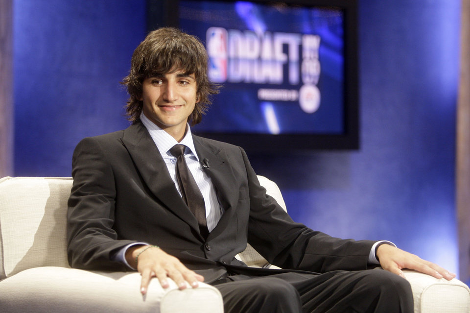 Photo - Top NBA draft prospect Ricky Rubio, of Spain, looks on during an interview before the first round of the NBA basketball draft, Thursday, June 25, 2009  in New York.  (AP Photo/Frank Franklin II) ORG XMIT: NYFF105