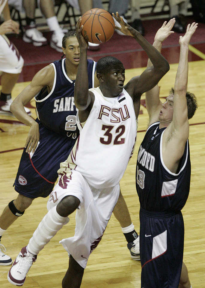 Photo - Solomon Alabi, Florida State University college basketball player          ORG XMIT: 1005102209153822