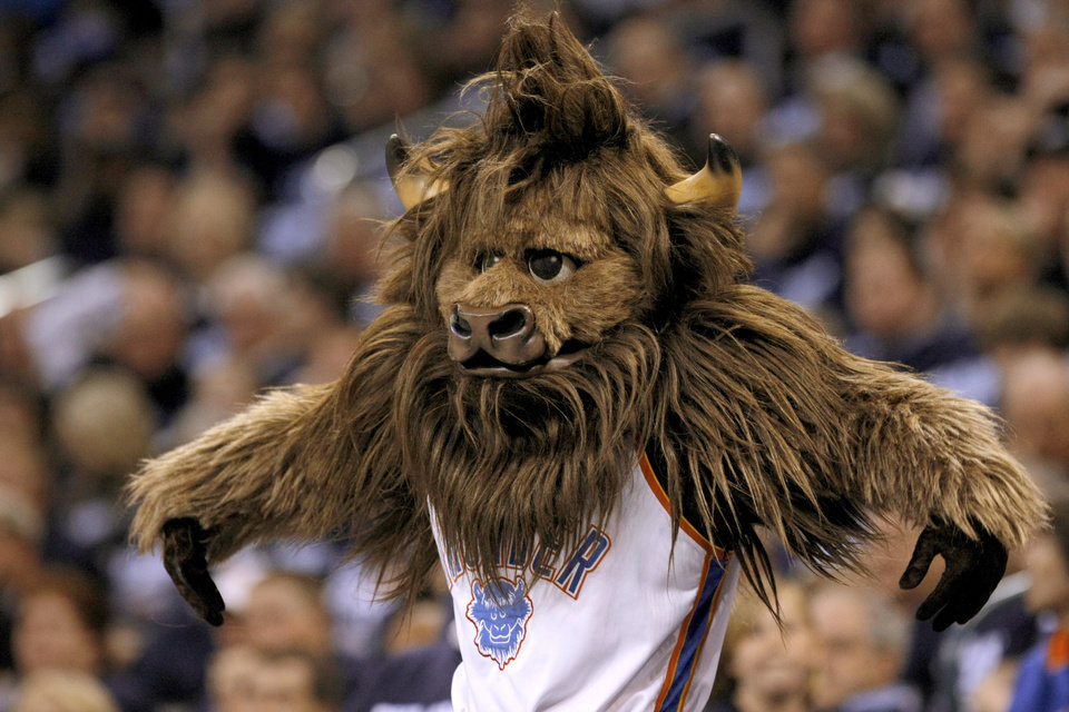 Rumble imitates Denver's Chris Andersen during the NBA basketball game between the Denver Nuggets and the Oklahoma City Thunder in the first round of the NBA playoffs at the Oklahoma City Arena, Wednesday, April 27, 2011. Photo by Bryan Terry, The Oklahoman