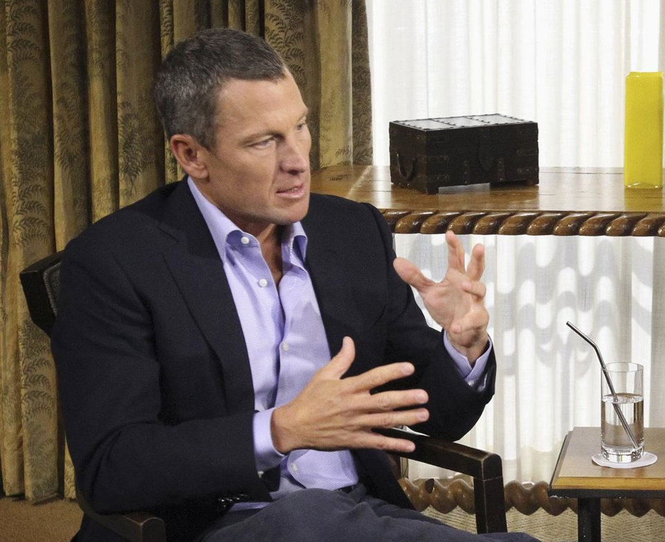 Photo - FILE - In this Monday, Jan. 14, 2013, file photo provided by Harpo Studios Inc., Lance Armstrong appears on a taping for the show