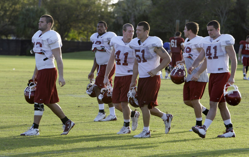 Photo - UNIVERSITY OF OKLAHOMA / OU / BOWL CHAMPIONSHIP SERIES / BOWL GAME / COLLEGE FOOTBALL / BCS NATIONAL CHAMPIONSHIP GAME: Oklahoma football players  walk off the field after football practice  at Barry University in Miami Shores, Fla, Tuesday,  Jan. 6, 2009. Oklahoma will play Florida in the BCS Championship NCAA college football game on Thursday, Jan. 8.  (AP Photo/ Lynne Sladky)  ORG XMIT: FLLS106