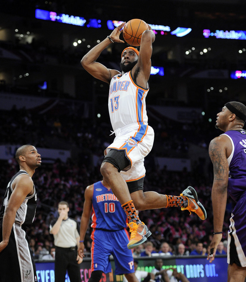 Sophomore James Harden, of the Oklahoma City Thunder, flies toward the basket during the first half of the Rookie Challenge game during the NBA basketball All-Star Weekend Friday, Feb. 18, 2011, in Los Angeles.  (AP Photo/Mark J. Terrill)