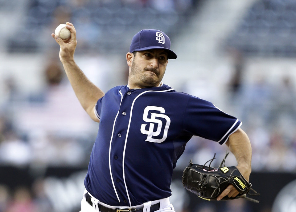 San Diego Padres starter Jason Marquis works against the Arizona Diamondbacks in the first inning of a baseball game, Saturday, June 15, 2013, in San Diego, Calif. (AP Photo/Lenny Ignelzi)