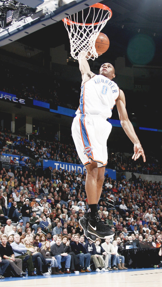 Photo - Thunder guard Russell Westbrook has the ability to make spectacular plays on the court.Photo BY BRYAN TERRY, THE OKLAHOMAN