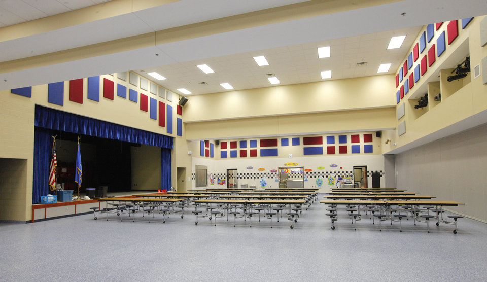 Photo -  The cafeteria and auditorium are seen at the new Arbor Grove Elementary School in the Putnam City School District. Photo by Paul B. Southerland, The Oklahoman   PAUL B. SOUTHERLAND -