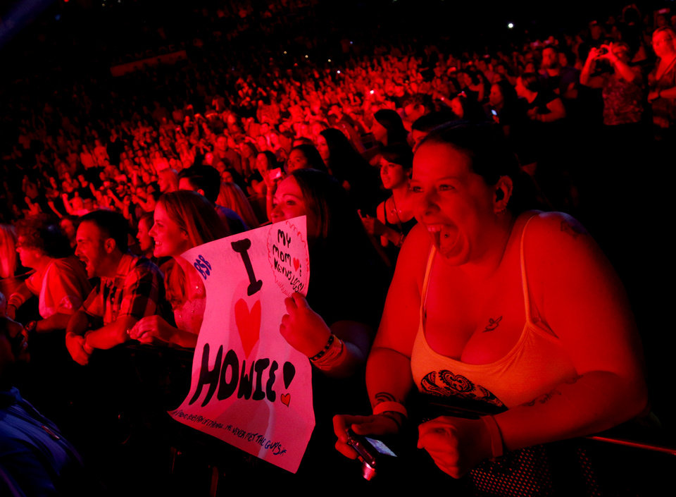 Photo - Fans cheer as the Backstreet Boys perform at Chesapeake Energy Arena, Friday, June 6, 2014. Photo by Bryan Terry, The Oklahoman