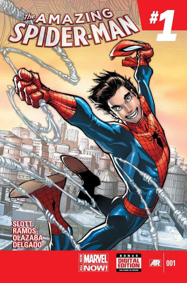 "Photo -  The cover to 2014's ""Amazing Spider-Man"" No. 1 by Humberto Ramos. Provided by Marvel Comics"