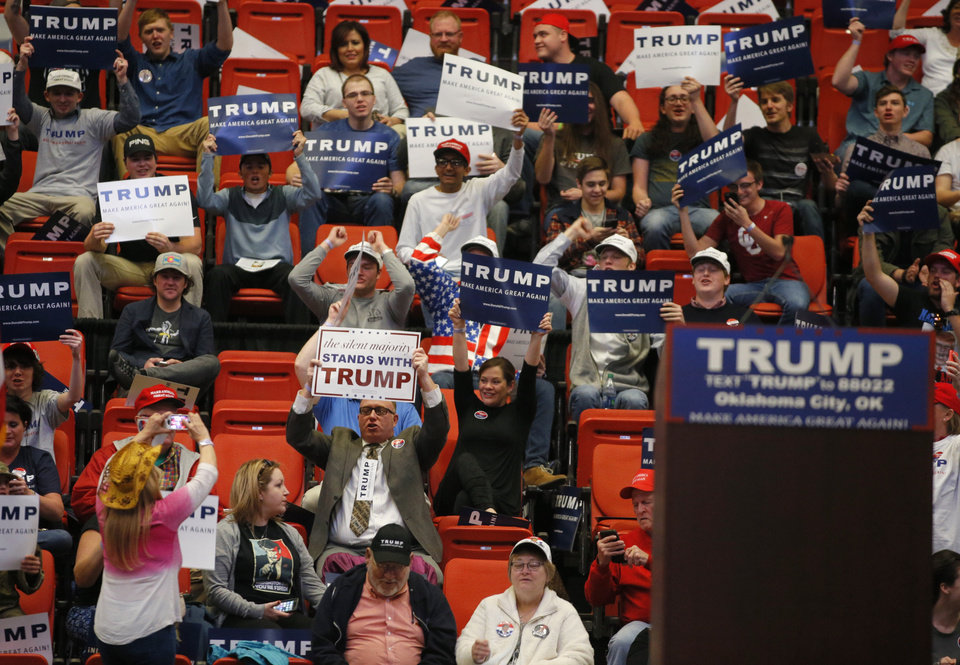 Photo - A crowd awaits the arrival of Republican presidential candidate Donald Trump before a rally at the Cox Convention Center in Oklahoma City, Friday, Feb. 26, 2016. Photo by Bryan Terry, The Oklahoman