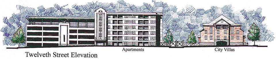 Photo -  This artist's drawing shows a portion of the plans for a north downtown block that once was the home of Mercy Hospital. The plans were presented Friday by Old Mercy Redevelopers, a partnership led by Nicholas J. Preftakes. Drawing is of apartments and city villas. 12th Street Elevation.