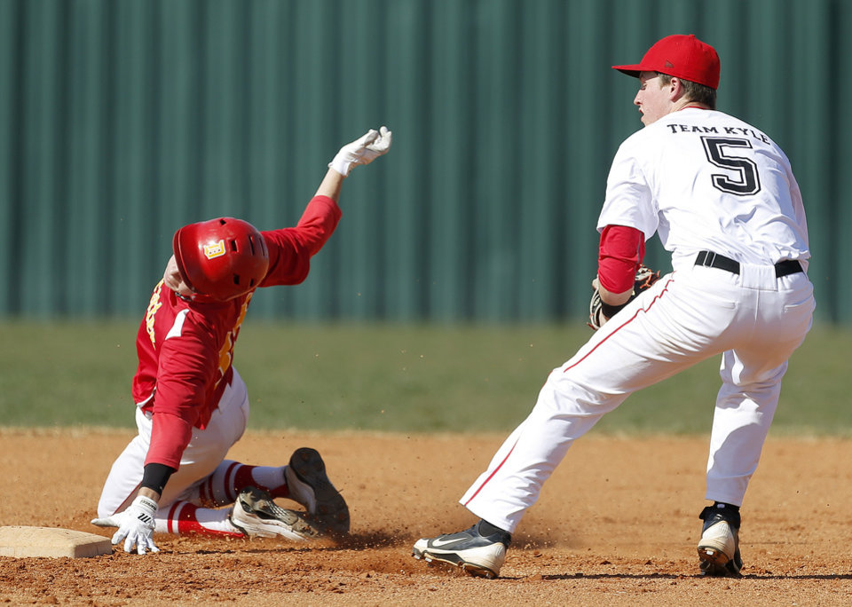 Dale\'s Tanner Nelson is out at second as Carl Albert\'s Justin McGregor turns to throw home in the first inning of their high school baseball game at Carl Albert in Midwest City, Okla., Thursday, March 14, 2013. Photo by Bryan Terry, The Oklahoman