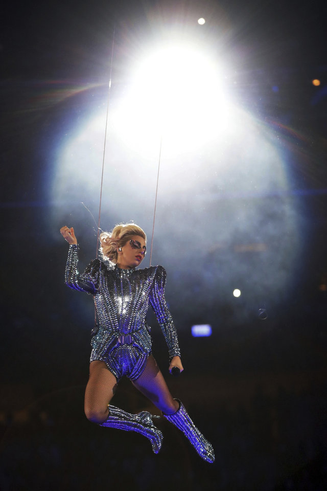 Photo - Singer Lady Gaga performs during the halftime show of the NFL Super Bowl 51 football game between the New England Patriots and the Atlanta Falcons, Sunday, Feb. 5, 2017, in Houston. (AP Photo/Matt Slocum)