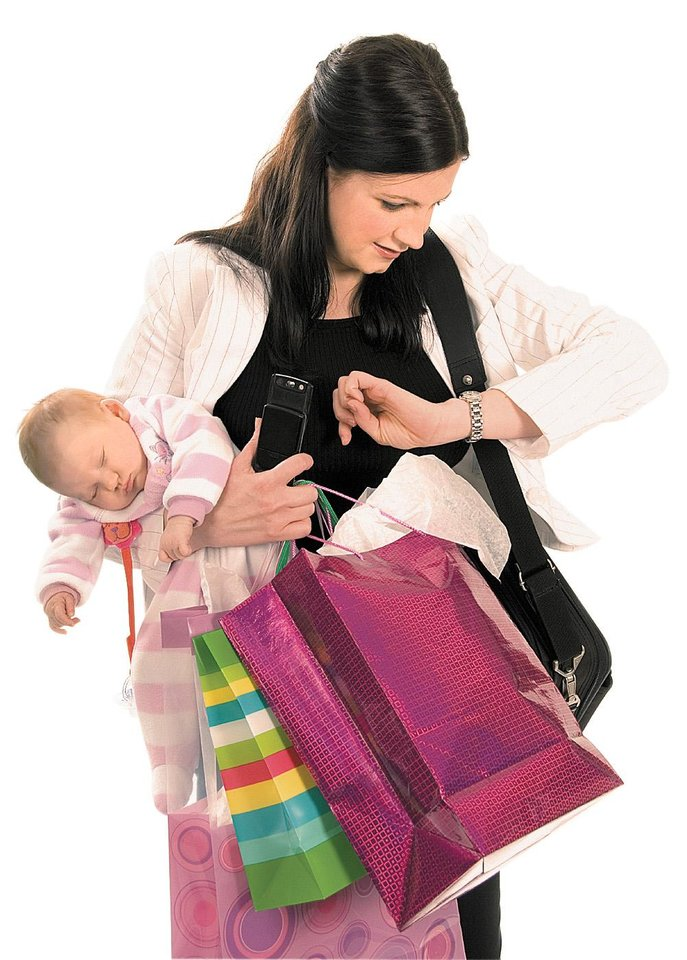 Photo - Super mom / mother / baby / packages / hands full / looking at watch      (CLIP ART)