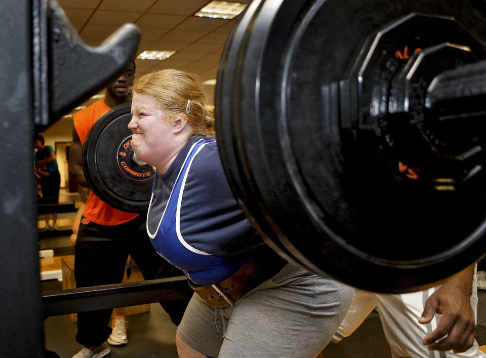 Amber Little sets a personal best of 250 pounds as she completes her squat during the powerlifting competition for the Special Olympics at Oklahoma State University (OSU) on Wednesday, May 13, 2009, in Stillwater, Okla.   Photo by Chris Landsberger, The Oklahoman