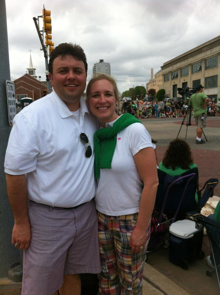 Photo - Brian and Alexis Lux, shown at the Oklahoma City St. Patrick's Day Parade, say they fell for Oklahoma City when they first moved here in 2008. They rented a house for three years, until buying their own home last summer, even as they continue to rent out the house they left behind in the depressed housing market of North Canton, Ohio. Photo provided   - PROVIDED