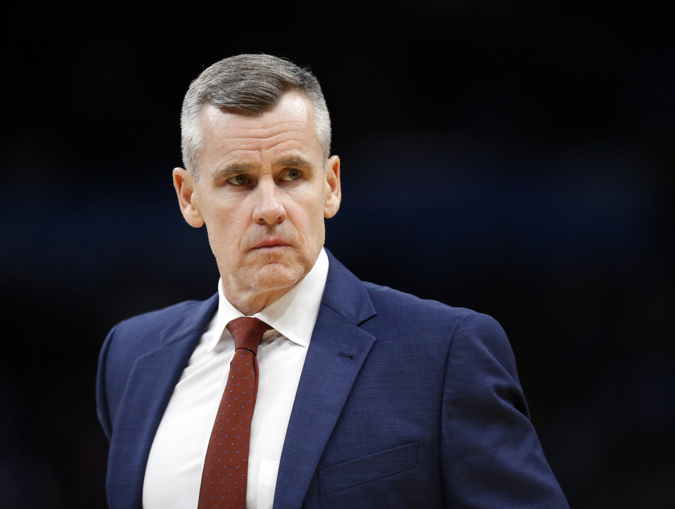 Photo - Coach Billy Donovan walks on the court during a timeout in an NBA basketball game between the Oklahoma City Thunder and Chicago Bulls at Chesapeake Energy Arena in Oklahoma City, Monday, Dec. 16, 2019. [Nate Billings/The Oklahoman]