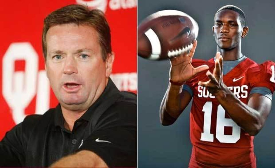 OU football coach Bob Stoops suspended sophomore receiver Jaz Reynolds indefinitely Wednesday. The Oklahoman Archive photos.