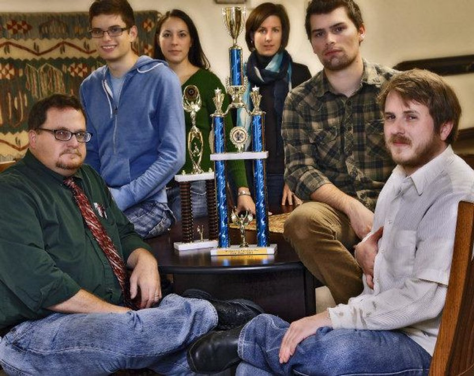 Members of the University of Oklahoma Ethics Bowl team and supporters are, from left, Stephen Ellis, Evan DeFilippis, Breea Bacon, Adrienne Jablonski, Jerod Coker, and Guss Keyes. PHOTO BY CHRIS LANDSBERGER, THE OKLAHOMAN