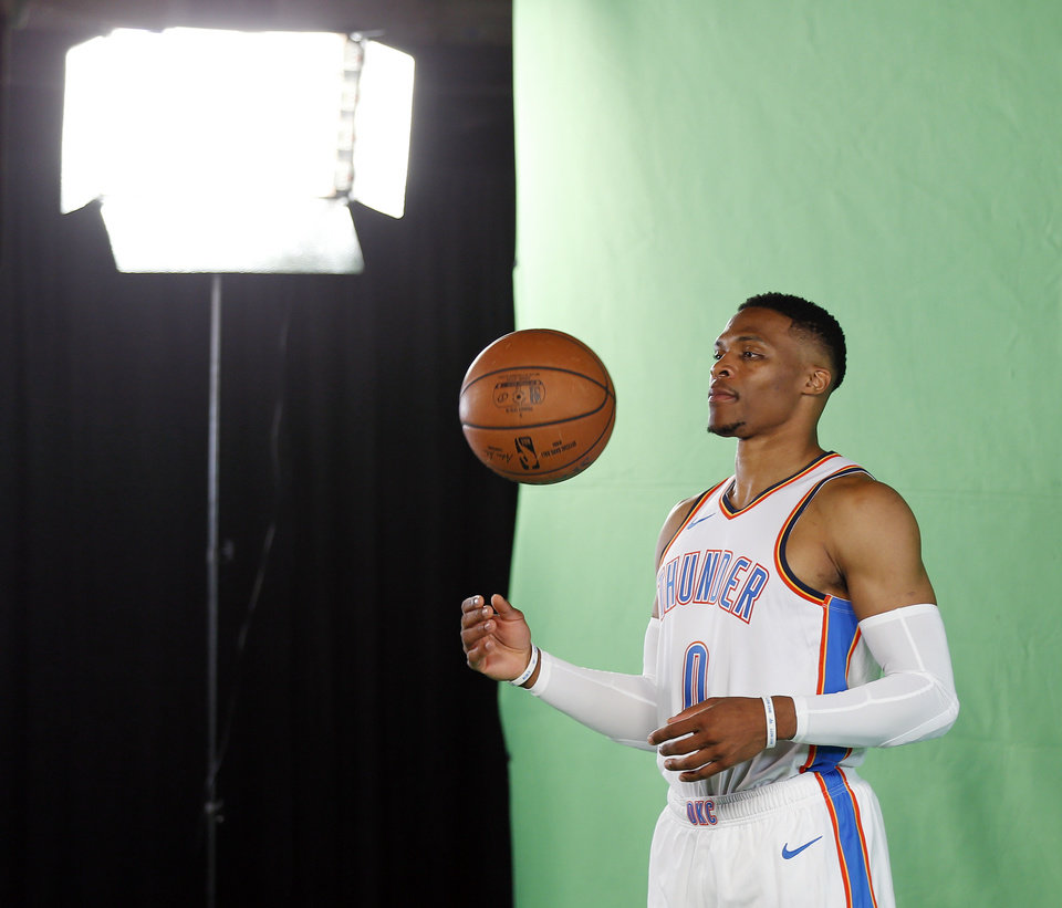 Photo - Russell Westbrook poses for a photo shoot at media day for the Oklahoma City Thunder at Chesapeake Energy Arena in Oklahoma City, Monday, Sept. 24, 2018. Photo by Nate Billings, The Oklahoman
