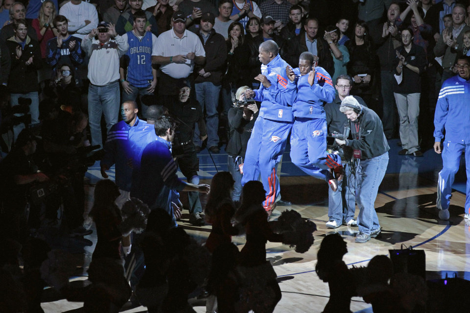 Thunder players are introduced as the Oklahoma City Thunder play the Orlando Magic in NBA basketball at the Chesapeake Energy Arena on Sunday, Dec. 25, 2011, in Oklahoma City, Okla.  Photo by Steve Sisney, The Oklahoman
