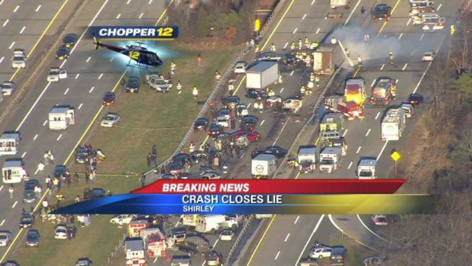 Photo - This image taken from video on the News 12 Long Island website shows an aerial view of a multi-vehicle accident on the Long Island Expressway, Wednesday, Dec. 19, 2012, in Shirley, N.Y. Police have closed the Expressway between exits 65 and 69 so first responders can work the scene. Over 20 vehicles are believed to be involved. (AP Photo/News 12 Long Island) MANDATORY CREDIT: NEWS 12 LONG ISLAND