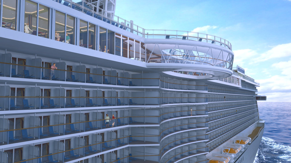 Photo - This artist's rendering shows the SeaWalk, a glass-bottom walkway being built on the Royal Princess cruise ship, which launches in June. The walkway will extend 28 feet beyond the edge of the ship and 128 feet above the ocean. The Royal Princess is considered by cruise-industry watchers to be one of the hottest new ships of 2013. The Princess Cruises vessel will carry 3,600 passengers. (AP Photo/Princess Cruises)