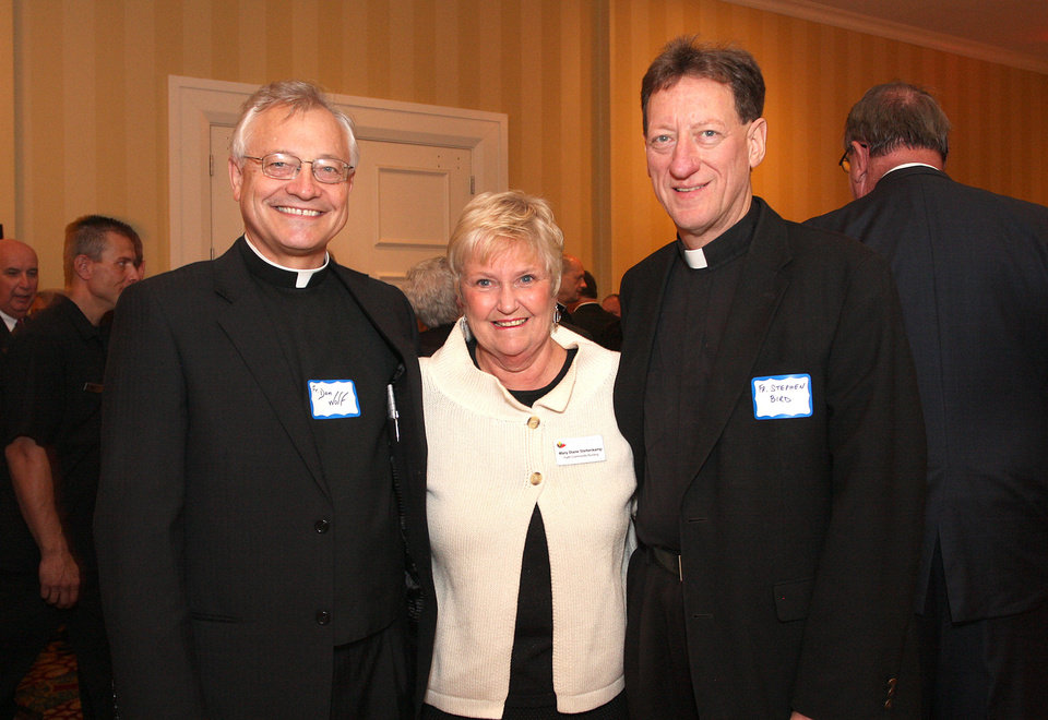 Father Don Wolf, Mary Dianne Steltenkamp, Father Stephen Bird. PHOTO BY DAVID FAYTINGER, FOR THE OKLAHOMAN <strong></strong>