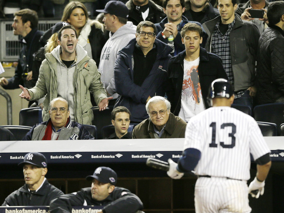 New York Yankees Alex Rodriguez is jeered by a fan after striking out in the sixth inning during Game 1 of the American League championship series against the Detroit Tigers Saturday, Oct. 13, 2012, in New York. (AP Photo/Matt Slocum)