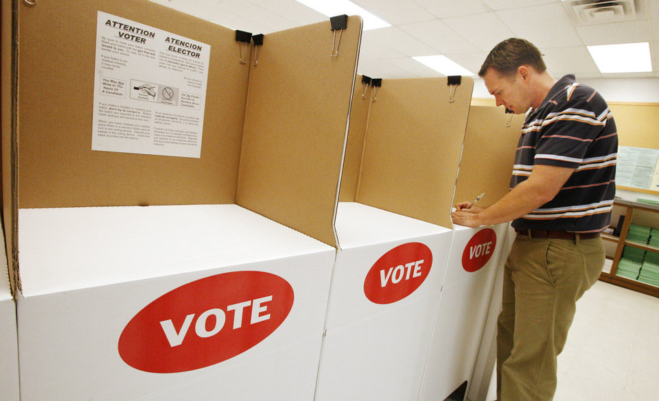 Randy Dowell, of Edmond, participates Monday during early absentee voting for the runoff primary election at the Oklahoma County Election Board in Oklahoma City. Photos by Paul B. Southerland, The Oklahoman
