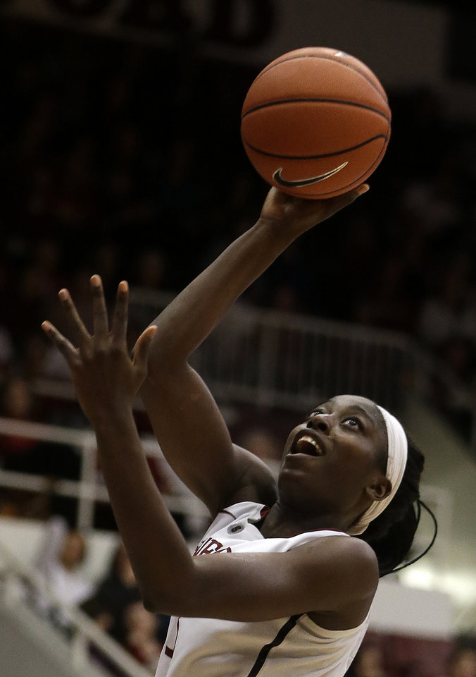 Photo - Stanford's Chiney Ogwumike shoots against Washington State during the second half of an NCAA college basketball game Saturday, March 1, 2014, in Stanford, Calif. (AP Photo/Ben Margot)