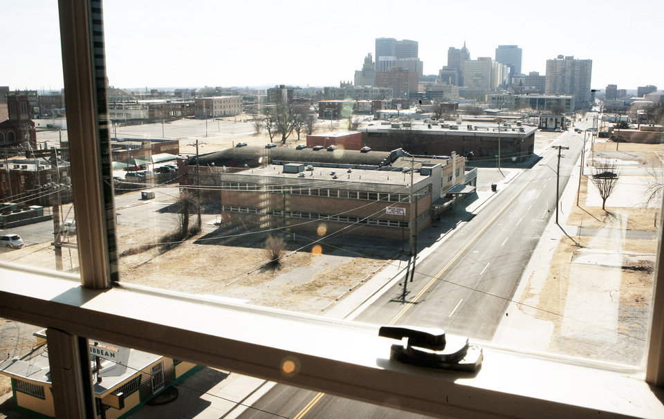 The view out the window of a sixth-floor apartment of the renovated Sieber Hotel shows downtown Oklahoma City.photo BY PAUL B. SOUTHERLAND, THE OKLAHOMAN
