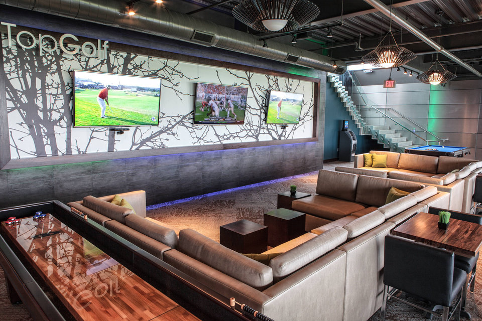 The Oklahoma City TopGolf venue will include bars and restaurants, like TopGolf's location in The Colony, Texas. <strong></strong>
