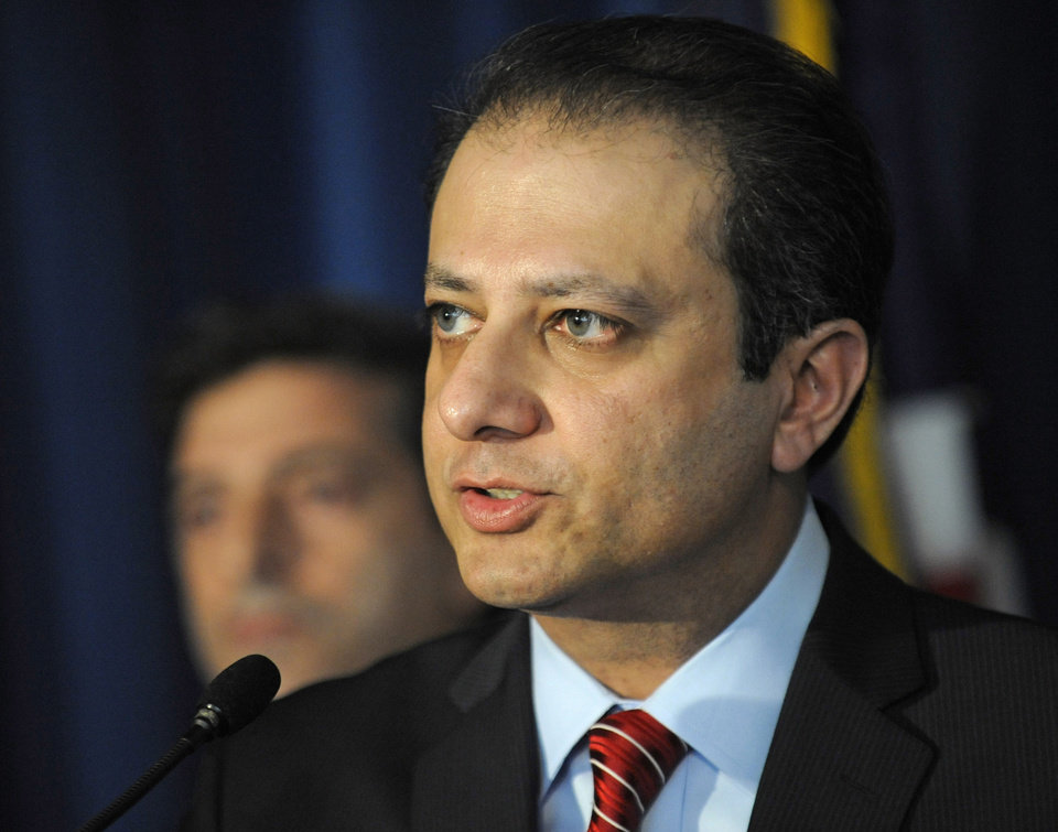 U. S. Attorney for the Southern district of N.Y. Preet Bharara speaks at a news conference, Tuesday, Nov. 20, 2012, in New York. Mathew Martoma, a former hedge fund portfolio manager was arrested Tuesday on charges that he helped carry out the most lucrative insider trading scheme in U.S. history, enabling investment advisers and their hedge funds to make more than $276 million in illegal profits. (AP Photo/Louis Lanzano)