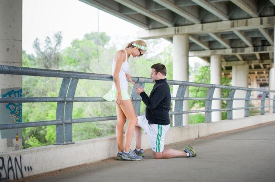 Parker Douglass, formerly of Oklahoma City, right, surprised his girlfriend Amy Mueller with a wedding proposal during a jog in Austin, Texas. (Photo by Heidi Rae Huserman).