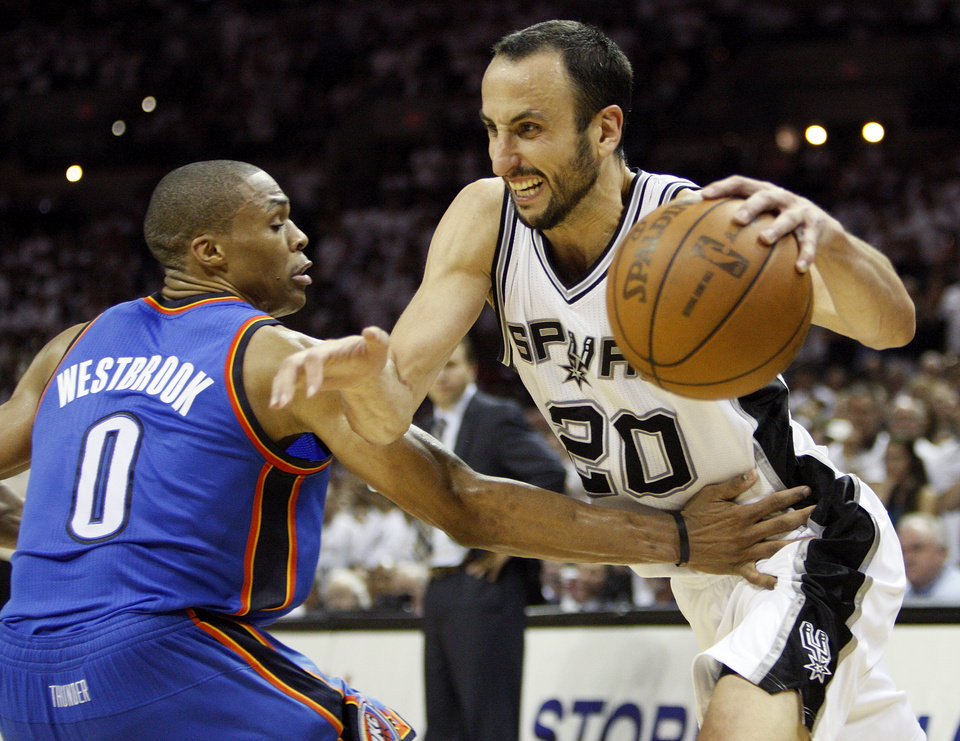 Photo - San Antonio's Manu Ginobili (20) drives against Oklahoma City's Russell Westbrook (0) during Game 5 of the Western Conference Finals between the Oklahoma City Thunder and the San Antonio Spurs in the NBA basketball playoffs at the AT&T Center in San Antonio, Monday, June 4, 2012. The Thunder won, 108-103. Photo by Nate Billings, The Oklahoman