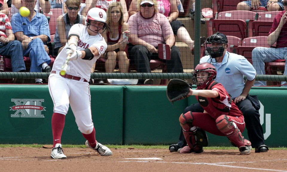 Sooner Keilani Ricketts hits at the Norman Regional of the 2013 NCAA Division I Softball Women's College World Series as the University of Oklahoma (OU) Sooners play the Arkansas Razorbacks at Marita Hines Field on Saturday, May 18, 2013  in Norman, Okla. Photo by Steve Sisney, The Oklahoman