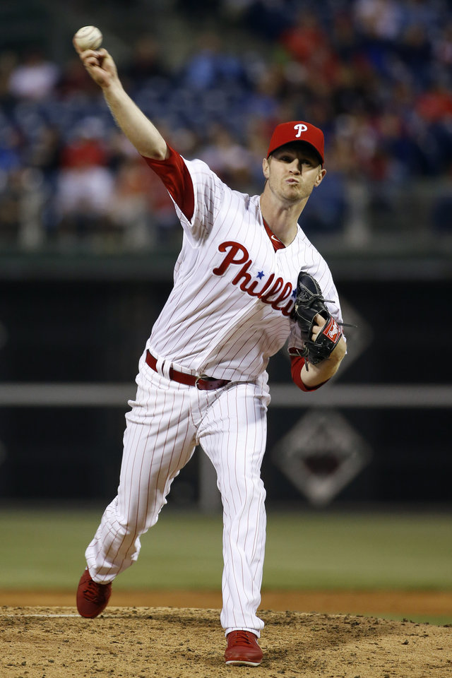 Photo - Philadelphia Phillies' Kyle Kendrick pitches during the third inning of an interleague baseball game against the Toronto Blue Jays, Monday, May 5, 2014, in Philadelphia. (AP Photo/Matt Slocum)