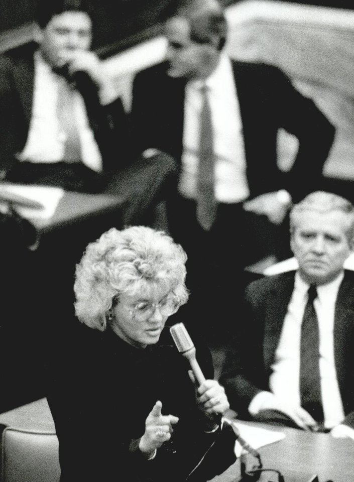 Photo - State Sen. Bernice Shedrick, chairman of the Senate education committee, discussed provisions of the education reform and tax package on Jan. 4, 1990. [Photo by Jim Beckel, The Oklahoman Archives]