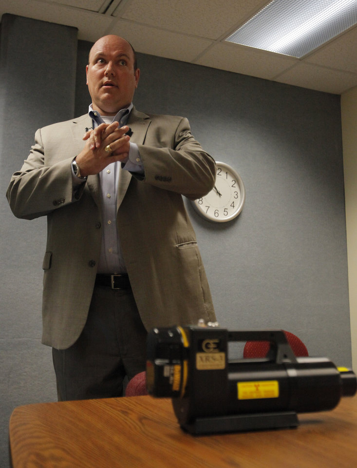 Detective Marion Cain talks about his Anatomical X-Ray Project which aims to find explosives that have been surgically implanted in human bodies at the Edmond Police Department, Thursday, July 5, 2012.  Photo by Garett Fisbeck, The Oklahoman