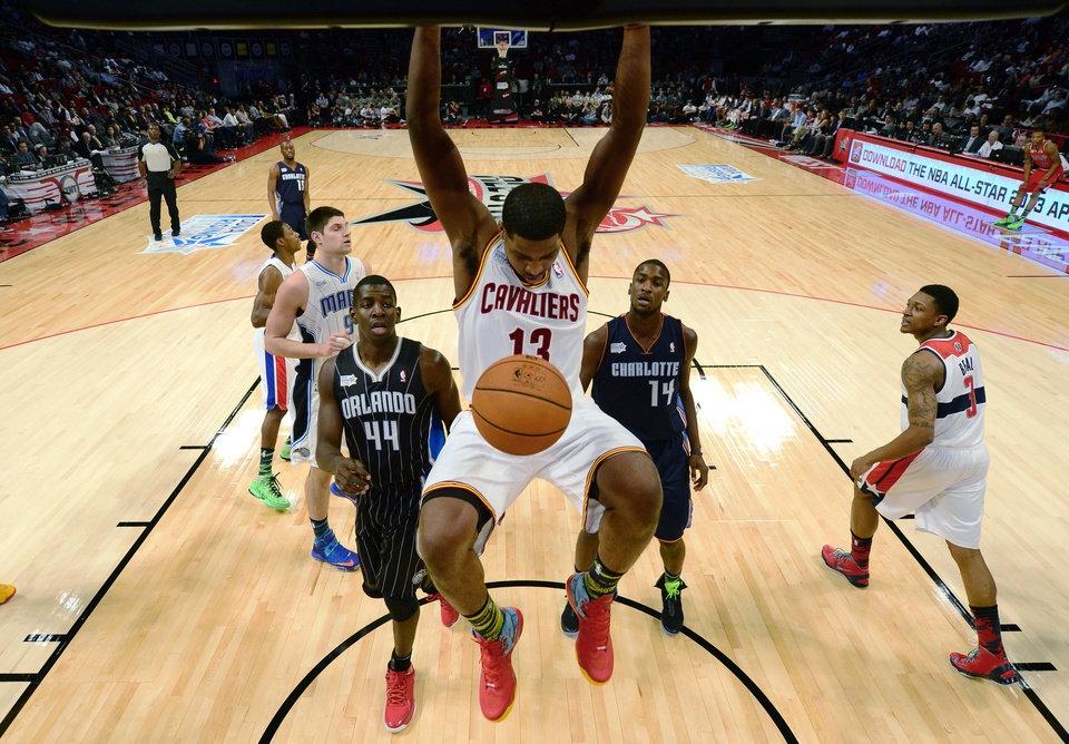 Team Chuck's Tristan Thompson of the Cleveland Cavaliers dunks against Team Shaq during the first half of the Rising Stars Challenge basketball game at NBA All-Star Weekend, Friday, Feb. 15, 2013, in Houston. (AP Photo/Bob Donnan, Pool)