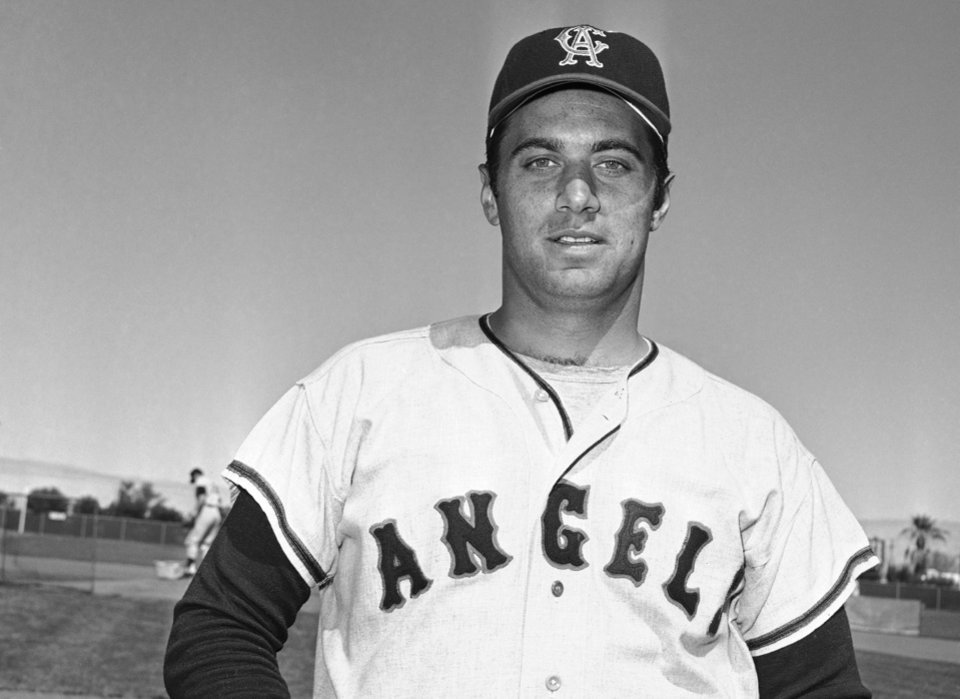 Photo - FILE - This March 1968 file photo shows Jim Fregosi of the California Angels in Palm Springs, Calif.  Fregosi, a former All-Star who won more than 1,000 games as a manager for four teams, has died after an apparent stroke. He was 71. The Atlanta Braves say they were notified by a family member that died early Friday, Feb. 14, 2014,  in Miami, where he was hospitalized after the apparent stroke while on a cruise with baseball alumni. (AP Photo/GB, file)