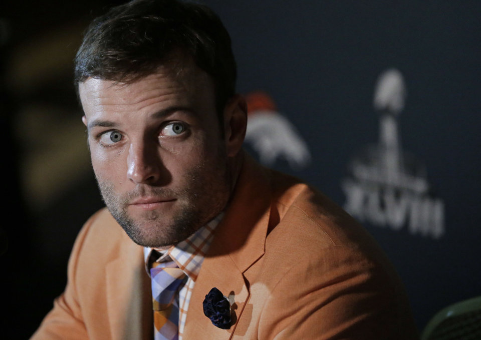 Photo - Denver Broncos wide receiver Wes Welker listens to a question during a news conference Sunday, Jan. 26, 2014, in Jersey City, N.J. The Broncos are scheduled to play the Seattle Seahawks in the NFL Super Bowl XLVIII football game Sunday, Feb. 2, in East Rutherford, N.J. (AP Photo/Mark Humphrey)