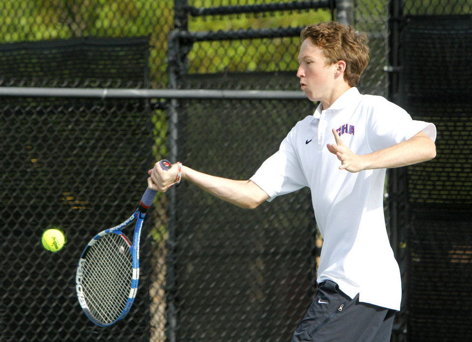 Photo - Christian Heritage Academy's Parker Denton plays against Daniel Ahshapanek of Anadarko during the 4A Boy's State Tennis Tournament at the OKC Tennis Club in Oklahoma City, OK, Friday, May 10, 2013,  By Paul Hellstern, The Oklahoman